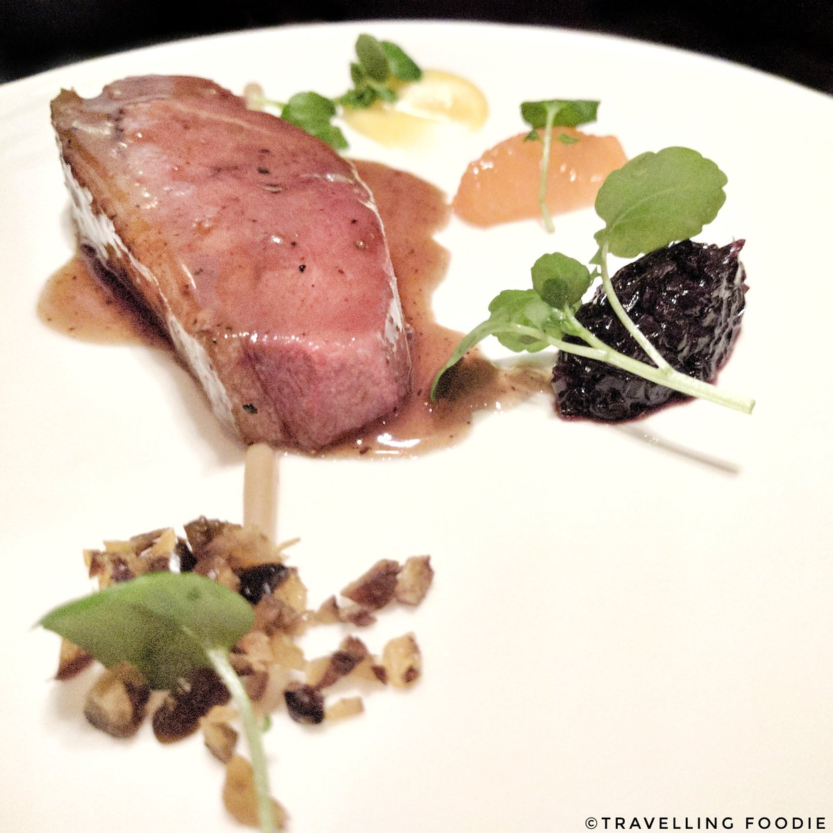 Traveling Foodie Eats Muscovy Duck, Cara Cara Orange, Coco Nib, Chestnuts at Alo Restaurant in Toronto, Ontario, Canada