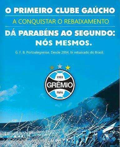 Finalmente um comentário inteligente da torcida do Grêmio sobre o rebaixamento do Inter. https://t.co/RKzIr3DjXn