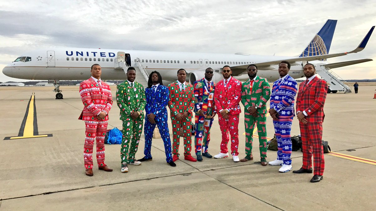 If you weren't already in the Christmas spirit, please allow our linebackers to help you.