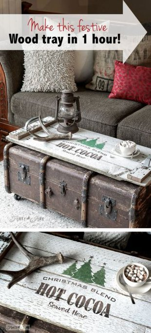 Make this festive, reclaimed wood tray in 1 hour!