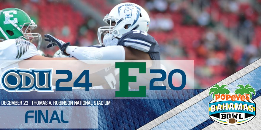 Final: #ODUFB defeats EMU and are the 2016 @TheBahamasBowl Champions! #ODUSports https://t.co/Gr0Szxbi9J