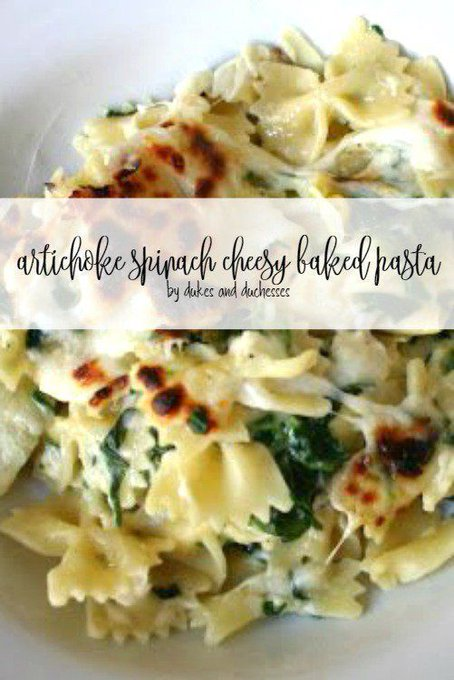 Artichoke Spinach Cheesy Baked Pasta