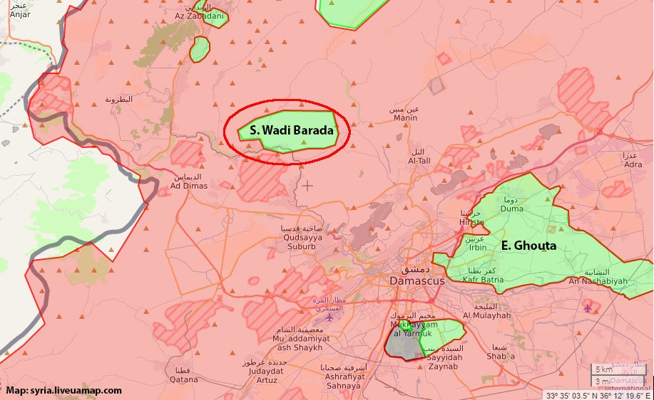 NW Damascus: fierce clashes in area East of Souq Wadi Barada as pro-Government forces led by Hezbollah are trying to reduce this Rebel pocket.