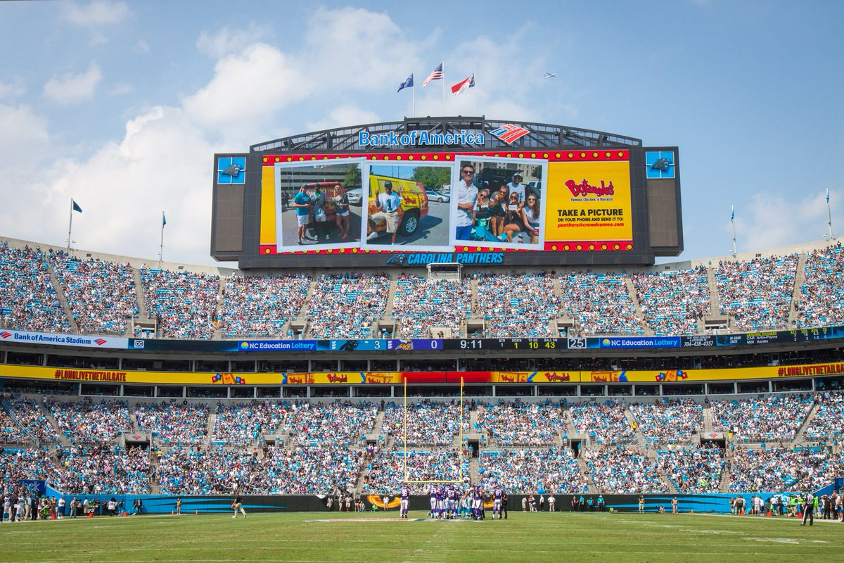 Where are you tailgating today? Look out for the @Bojangles1977 crew and you may be on PantherVision #LongLivetheTailgate #ATLvsCAR
