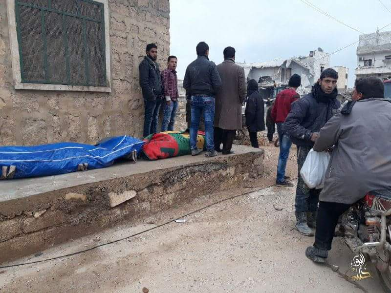 Destruction in Atarib caused by government bombardments, west countryside of Aleppo. Reports the government had targeted a meeting of Harakat Hazm members with Faylaq al-Sham.