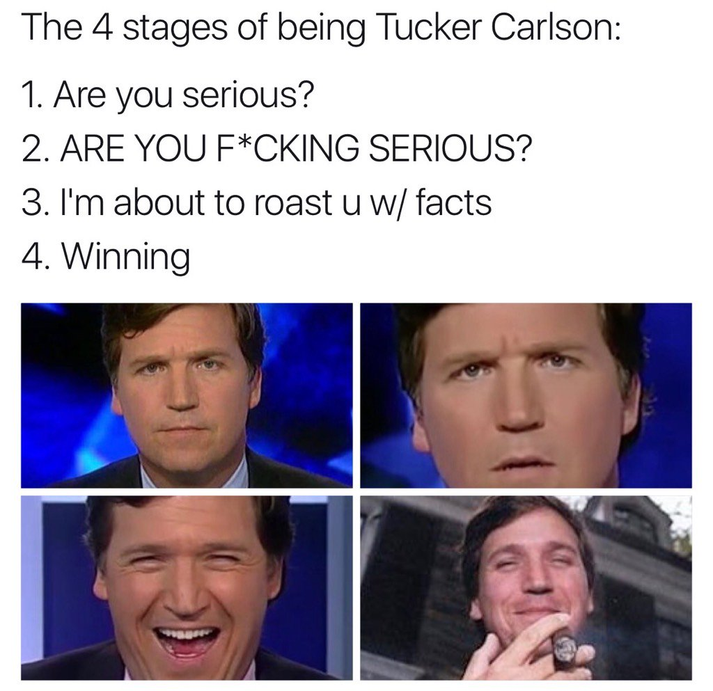 will menaker on twitter tucker carlson bout to roast this lit