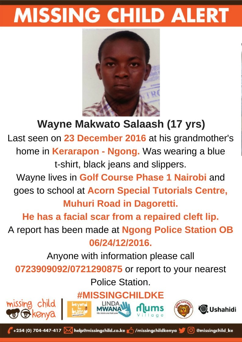 #MissingChildKE: Please keep an eye out. He has a facial scar from a repaired cleft lip. And please RT. https://t.co/BVCoLI1iGo