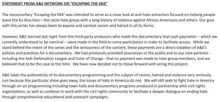 A&E ditches KKK reality series after discovering producers paid some of its subjects. Full statement: https://t.co/hWXySTbt2Q