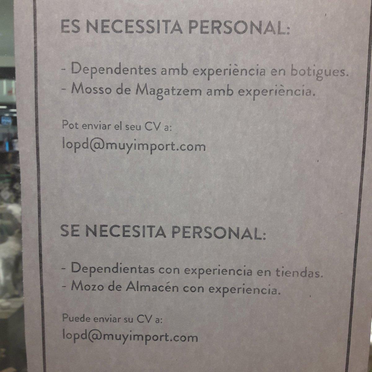 Elia Andreo On Twitter Oferta De Trabajo En Tienda Muy Mucho Del