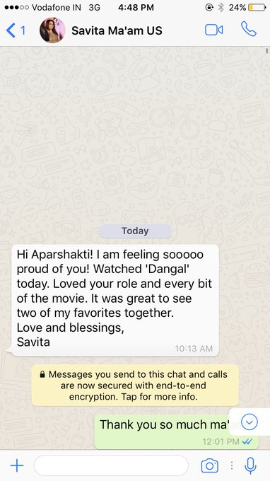 You feel special when your English teacher messages from US #Dangal https://t.co/s3fMVSsape