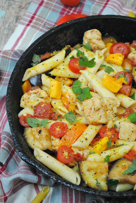 Chicken & Eggplant Skillet Pasta Recipe