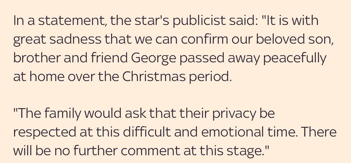 Full statement on the news #GeorgeMichael is dead. https://t.co/4rLloZlmer