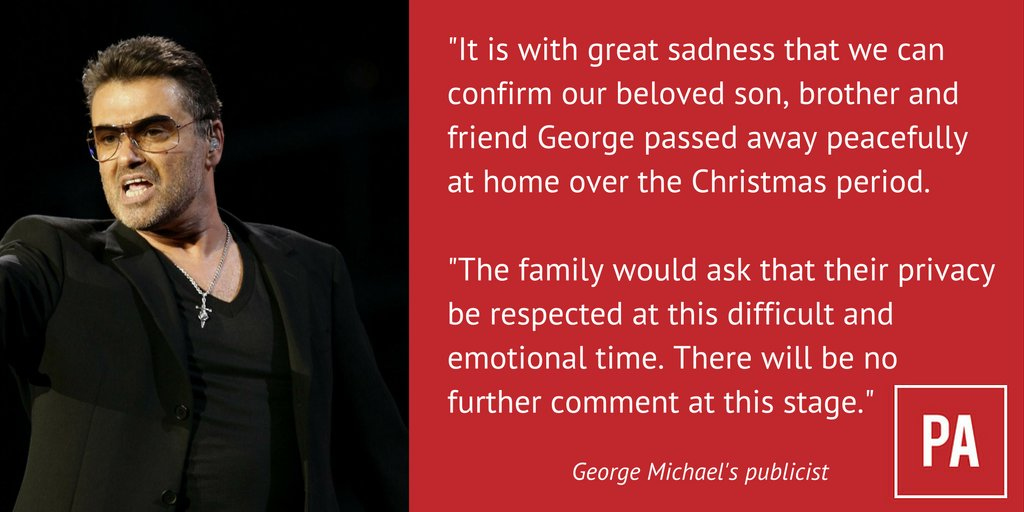 Pop Star Singer George Michael from Watford has died aged 53