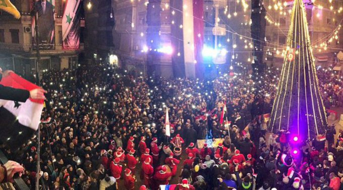"People of liberated Aleppo celebrated Christmas for the 1st time in 4 yrs!Their joy wasn't found ""newsworthy"" by @BBC or other UK media tho'"