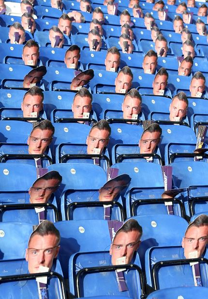 Leicester fans have got a Jamie Vardy mask on their seat today - in protest by owners at his ban https://t.co/6qZccPRGTw