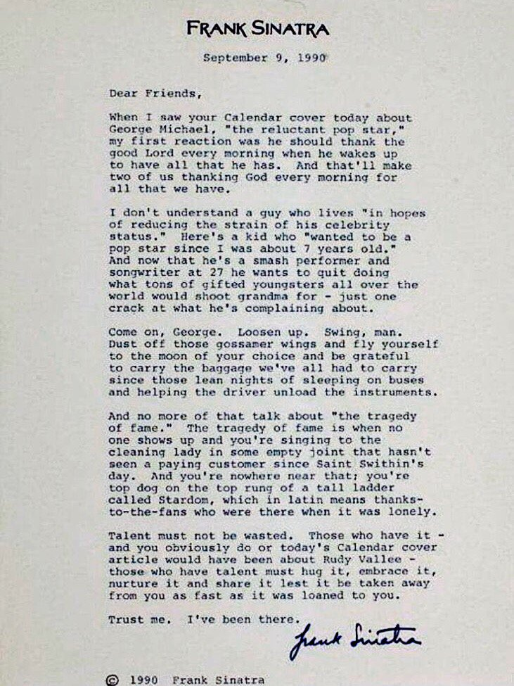 George Michael: Frank Sinatra's amazing letter to George Michael