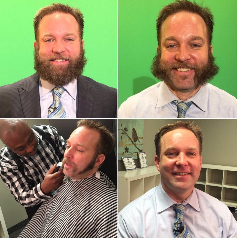 """Here are the stages as we shaved my """"Browns 0-for"""" beard this morning after 109 days @fox8news #scottsbeard https://t.co/6NaJmGFLWv"""