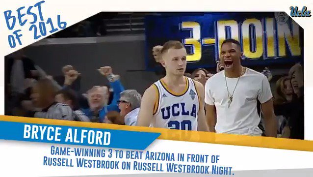 We're looking back at some of our memorable 2016 Bruin moments.  1/7: @UCLAMBB's @balford20 nails the game-winner 🏀 in front of @russwest44!