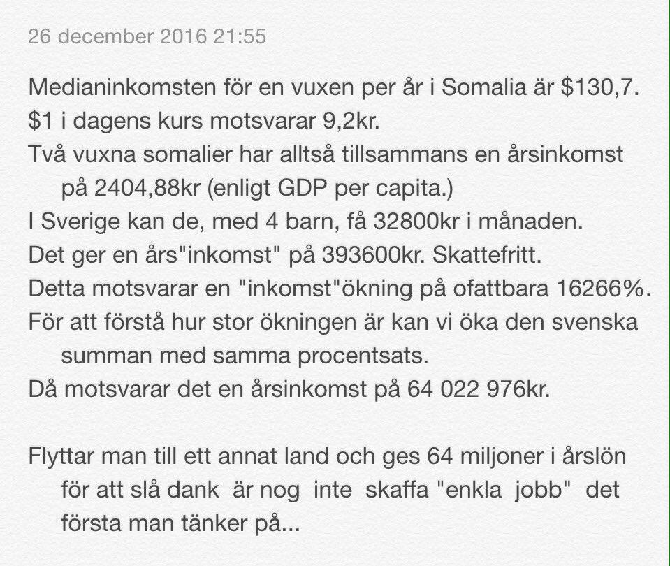 Hur mycket mer en somalisk familj ges i Sverige, i relation till vad de tjänar i hemlandet, motsvarar årsinkomst på 64 miljoner kr.