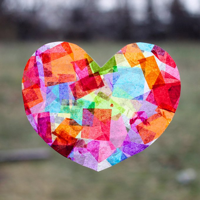 Rainbow Heart Suncatchers - Easy valentine craft for kids!