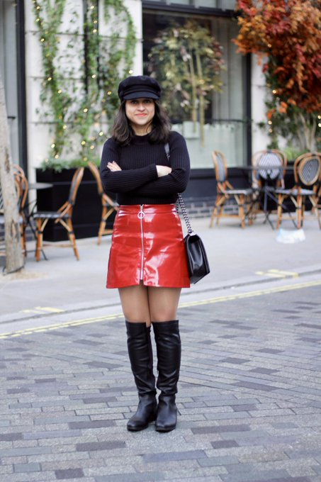 Patent Red Mini Skirt And A Winter Staple #OOTD