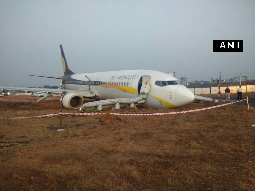 Panaji: Visuals of Mumbai bound Jet Airways flight 9W 2374 that skidded off runway at Dabolim airport (Goa), a short while ago.