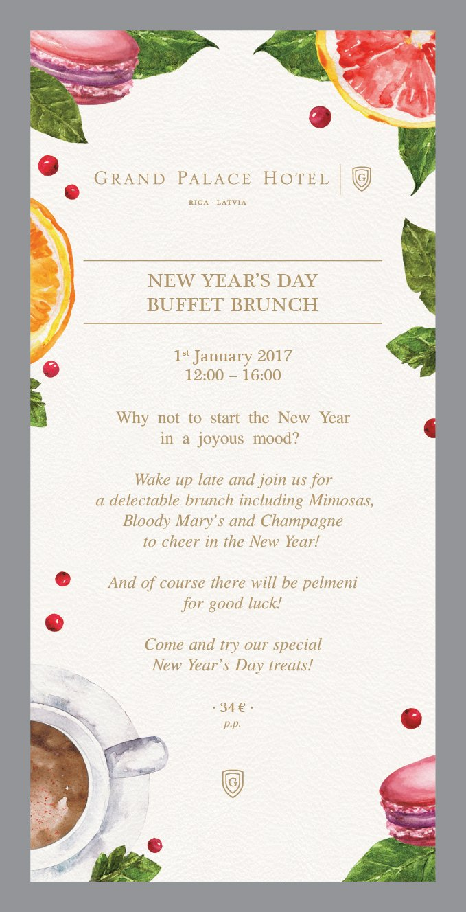 grand palace hotel on twitter new years day buffet brunch 1st january 2017 1200 1600 why not to start the new year in a joyous mood