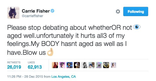 And lest we forget these magnificent statements by Carrie Fisher: https://t.co/KUE8GgRZlT