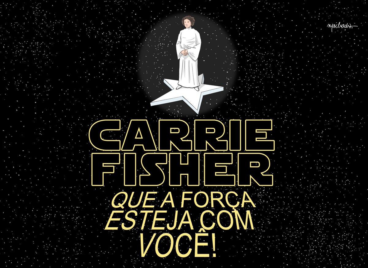 Uma homenagem a Carrie Fisher nos traços de Renato Machado.