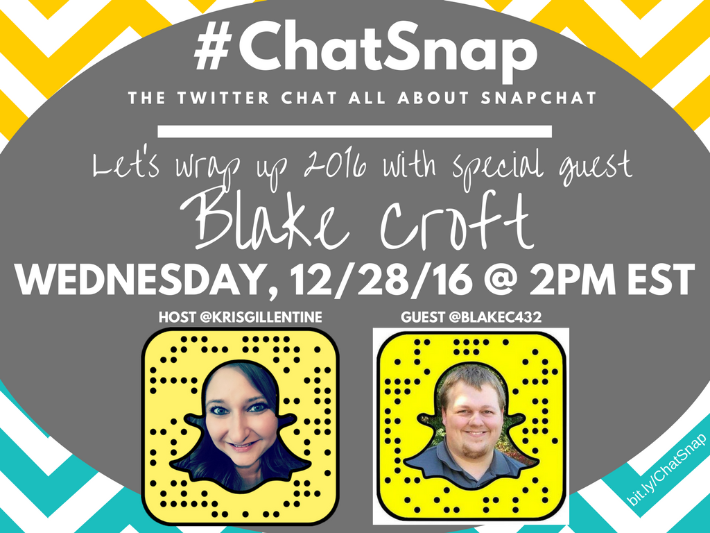 Are you excited about #ChatSnap today w/ guest @blakec432? I am!!! :) No matter where you are, it starts in an hour! https://t.co/Z3hwnxeraX
