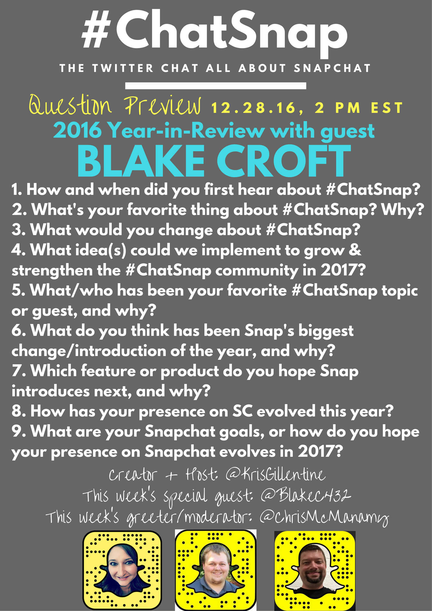 The final #ChatSnap of 2016 starts in 5 minutes...Please invite your friends!! Here's a look at today's questions! @blakec432 @ChrisMcManamy https://t.co/WNqzRac221