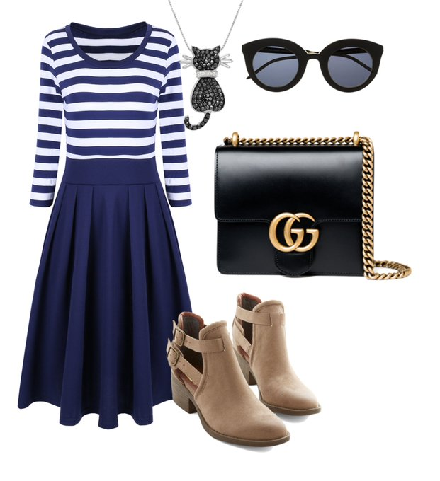 Casual Stripes Half Sleeve Pleated Dress