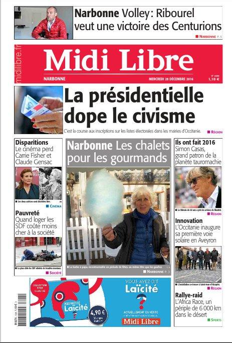 A la une de #MidiLibre #Narbonne ce mercredi.<br>http://pic.twitter.com/0CZcVLn4L7