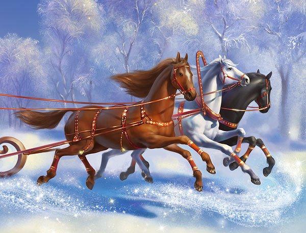 Открытка новогодней лошади