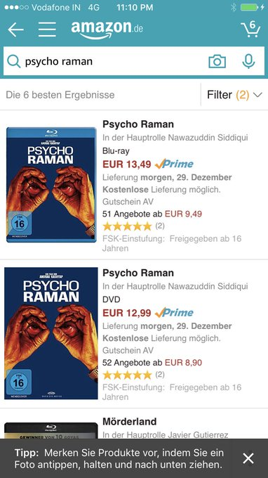 For anyone who wants to see the international version of Psycho Raman .. it's available to buy from Amazon.de in Germany https://t.co/DNDI7Rgr6r