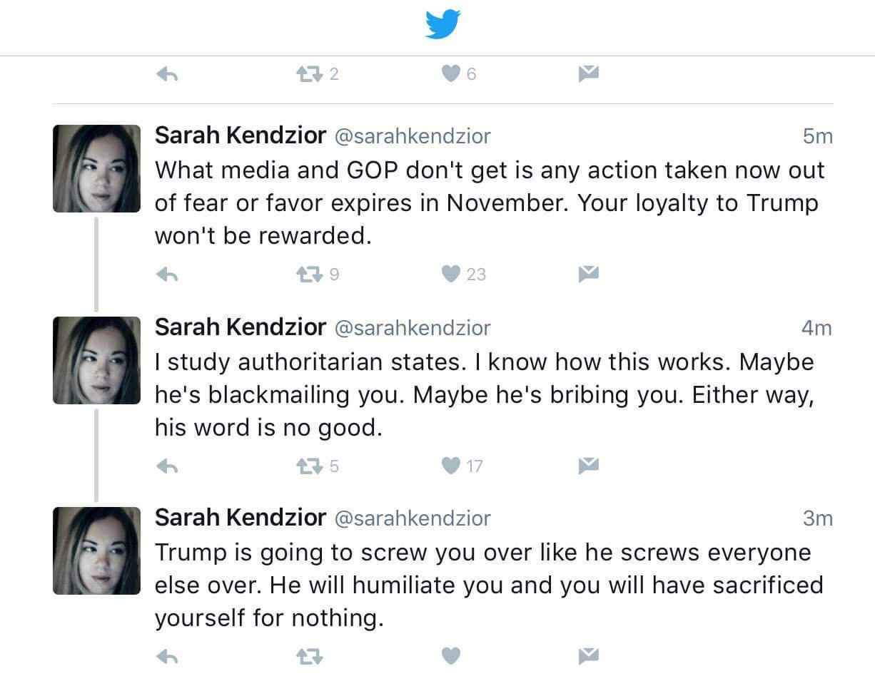 Thumbnail for Sarah Kendzior on applying the Billy Bush principle to Donald Trump (don't be a syncophant)