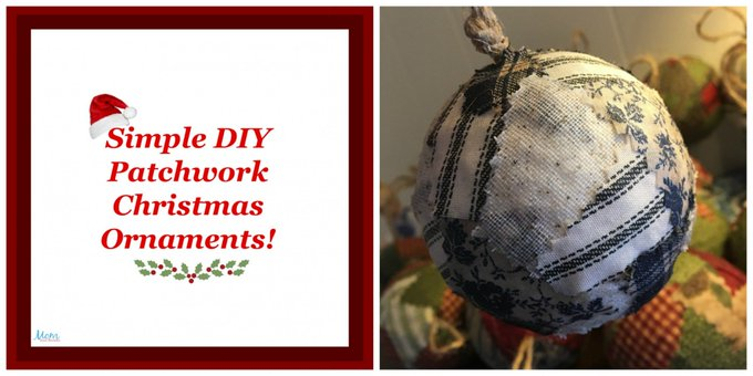 Simple Patchwork Christmas Ornaments #Crafts