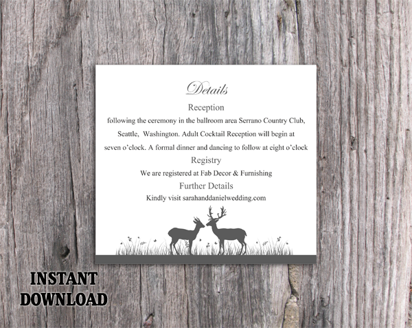 DIY Wedding Details Card Template Editable Word File Instant Download Printable Details Card Black Details Card Elegant Enclosure Cards