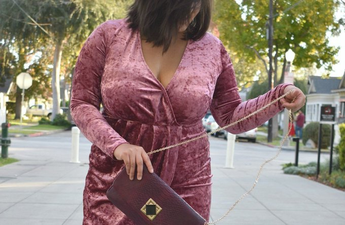 New Year's Eve in a shimmering pink velvet dress; OOTD