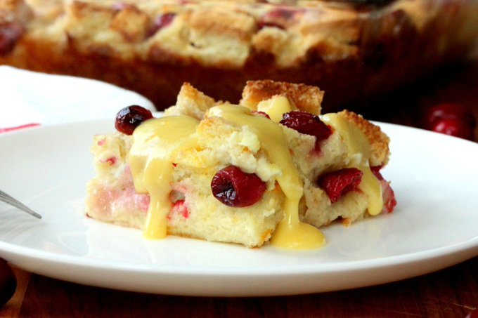 Cranberry Bread Pudding with Orange Sauce