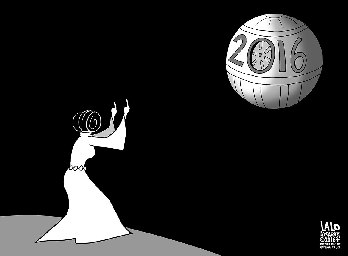 My final editorial cartoon for 2016. Please share. #DeathStar #laloalcaraz https://t.co/zmM7zofrqs