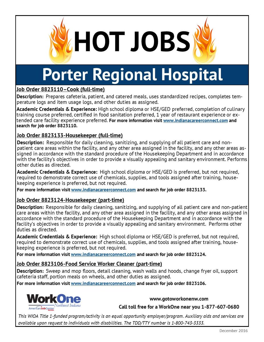 Service Porter Job Description | Workone Nwi On Twitter Hot Jobs At Porter Regional Hospital