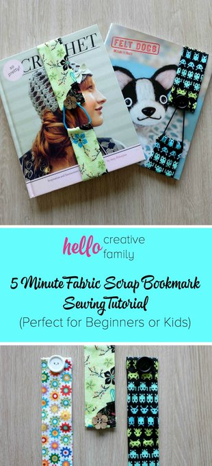 5 Minute Fabric Scrap Bookmark Sewing Tutorial