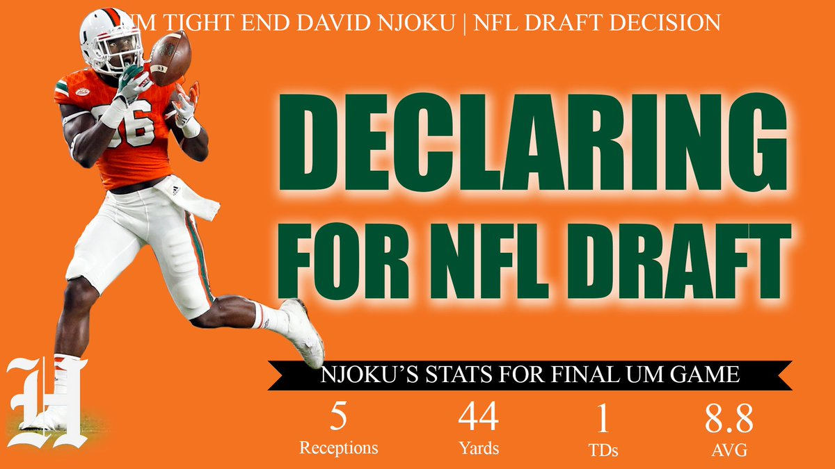 BREAKING: UM tight end David Njoku is entering the NFL Draft. https://t.co/6K1ErFs5uZ