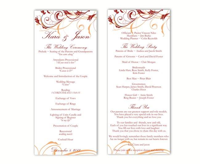 Wedding Program Template DIY Editable Text Word File Download Program Wine Red Program Floral Program Printable Wedding Program 4x9.25inch