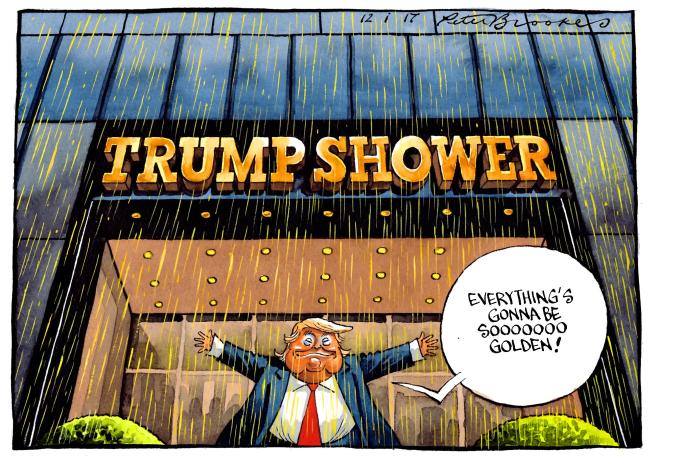 My cartoon Thursday @TheTimes on a golden future for #Trump #watersportsgate