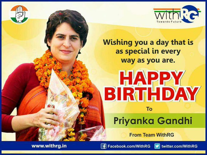 I wish our inspiring leader Mrs. Priyanka Gandhi ji a very Happy Birthday and wish her a successful journey ahead.