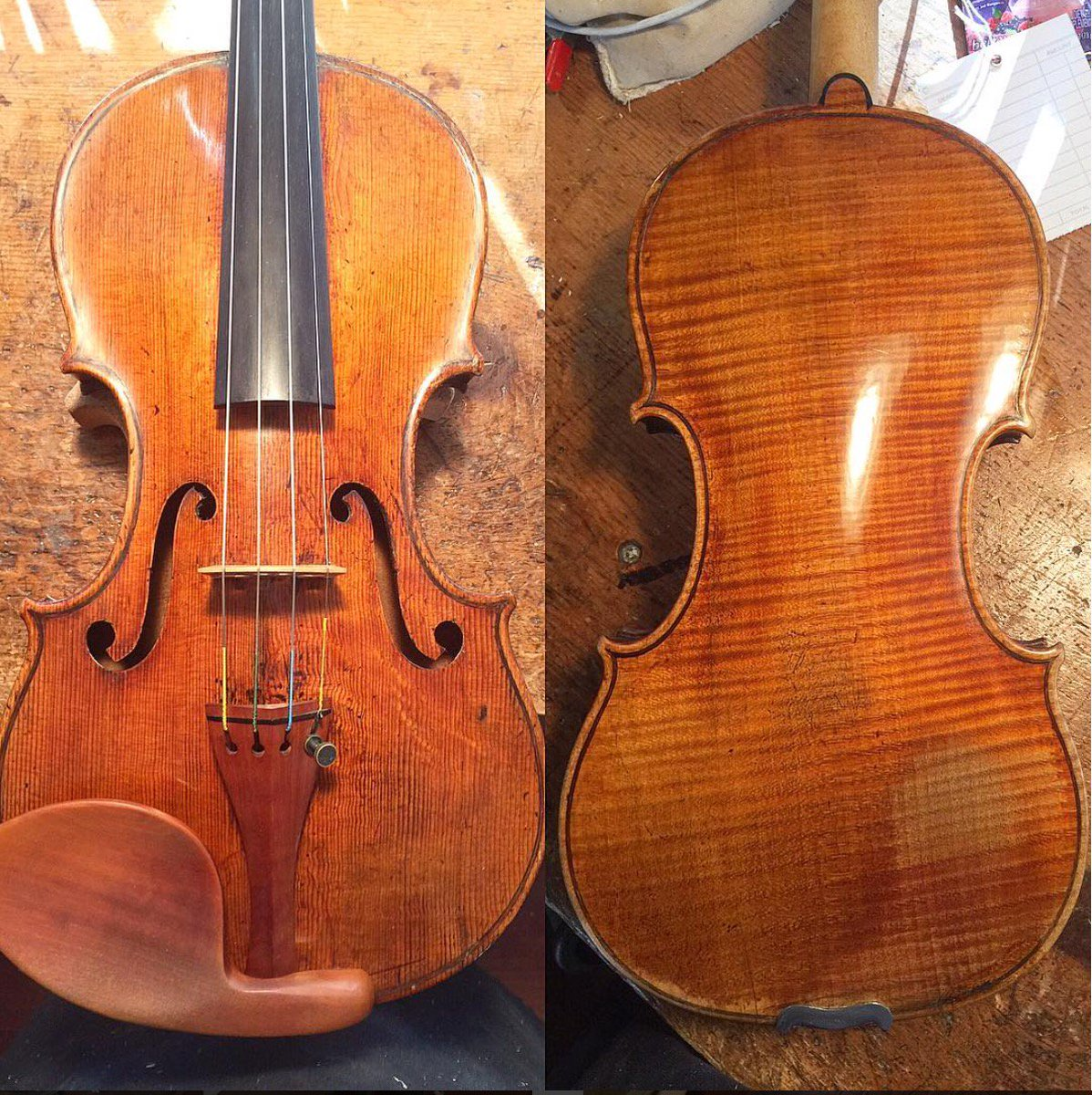This beautiful 1715 Alessandro Gagliano violin has been keeping me company for the last few days. #violin #restoration #luthier #violinmaker<br>http://pic.twitter.com/6vpTypsULM