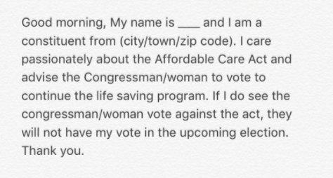 It's not too late to #SaveACA, but we need to rally. Call your reps 202-224-3121. If you need it, use a script, like this by @kelseyfuller_: