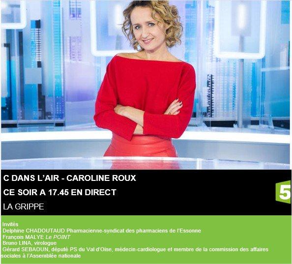 ce soir @CdanslairF5 sur la grippe avec @Caroline_Roux 17.45 en direct sur @France5tv #cdanslair <br>http://pic.twitter.com/CMYrKllabd